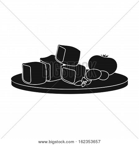 Diced cheese feta with tomatoes and olives on the cutting board icon in black style isolated on white background. Greece symbol vector illustration.