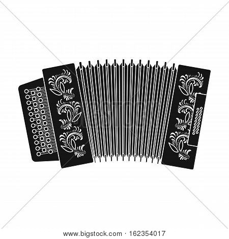 Classical bayan, accordion or harmonic icon in black design isolated on white background. Russian country symbol stock vector illustration.