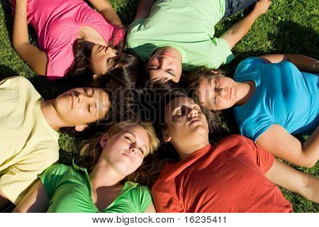 happy sleeping group