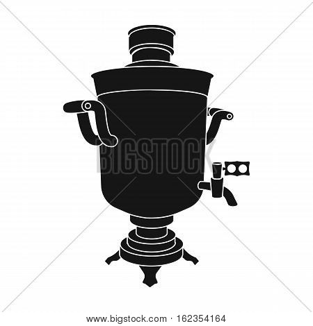 Samovar icon in black design isolated on white background. Russian country symbol stock vector illustration.