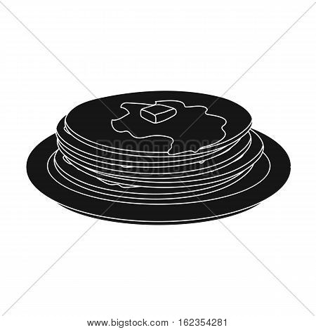 Russian pancakes icon in black design isolated on white background. Russian country symbol stock vector illustration.