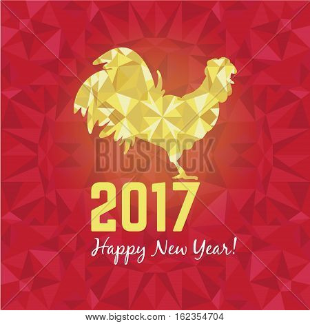 Vector illustration of red and golden rooster, symbol of 2017 on the Chinese calendar New Year. Silhouette of cock, decorated with golden geometric patterns. Vector element for New Year's design. Image of 2017 year of Red Rooster.