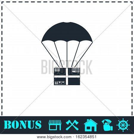 Aerial post delivery icon flat. Simple vector symbol and bonus icon