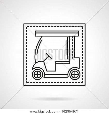 Abstract symbol of golf cart or car. Professional sport and hobby, active leisure. Equipment for tournament. Flat black line vector icon.