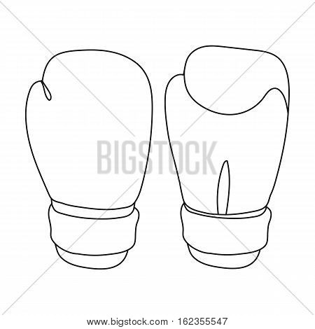 Boxing gloves icon in outline style isolated on white background. Boxing symbol vector illustration.