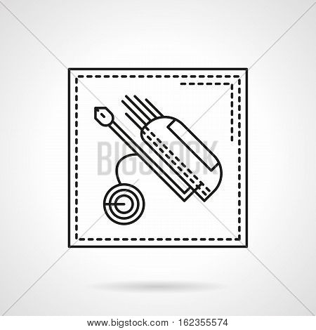 Golf bag filled with clubs on a special truck. Equipment for professional sport. Golf tournament, active leisure concept. Flat black line vector icon.