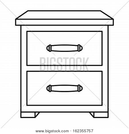 Bedside table icon in outline style isolated on white background. Furniture and home interior symbol vector illustration.
