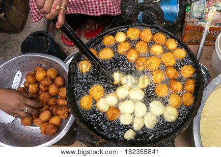 Kathmandu, Nepal - May 22, 2016: Street food in Kathmandu, Nepal