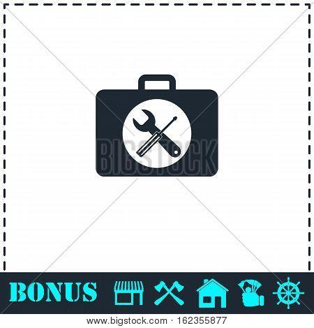 Toolbox icon flat. Simple vector symbol and bonus icon