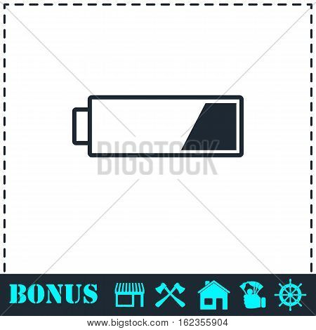 Battery icon flat. Simple vector symbol and bonus icon