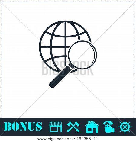 Analyzing world icon flat. Simple vector symbol and bonus icon