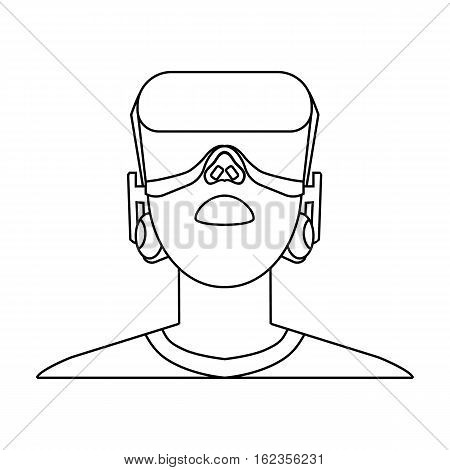 Player with virtual reality headoutline icon in outline style isolated on white background. Virtual reality symbol stock vector illustration.