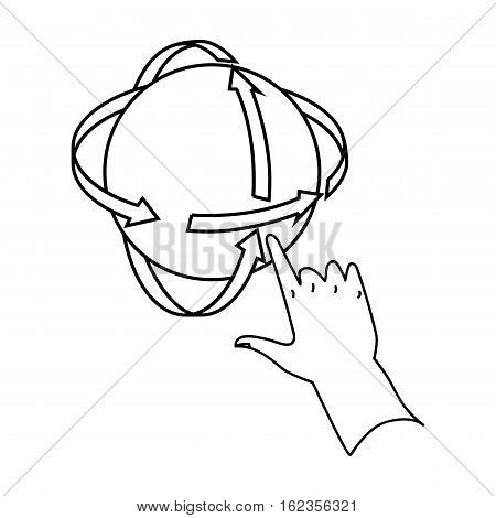Rotation of globe in virtual reality icon in outline style isolated on white background. Virtual reality symbol vector illustration.