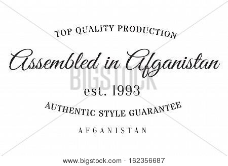 Assembled in Afganistan rubber stamp. Grunge design with dust scratches. Effects can be easily removed for a clean, crisp look. Color is easily changed.