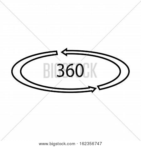 Rotation in the virtual reality icon in outline style isolated on white background. Virtual reality symbol vector illustration.