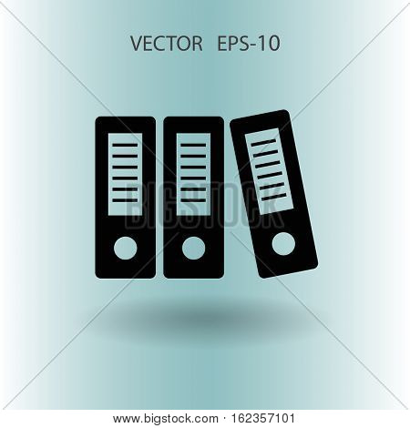 Flat shadow Row of binders icon, vector illustration