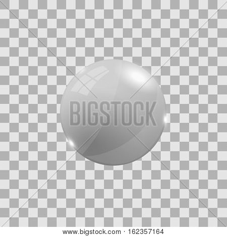 White 3d sphere illustration on a checker background