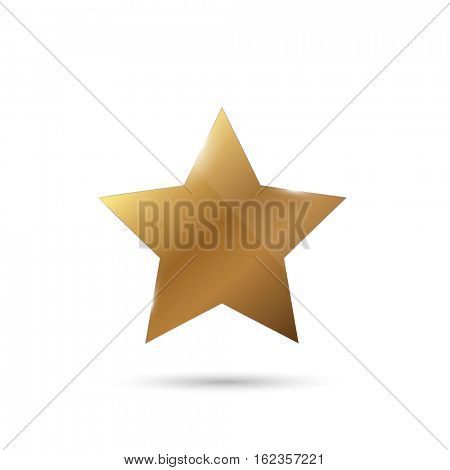 Shiny gold star illustration on a white background