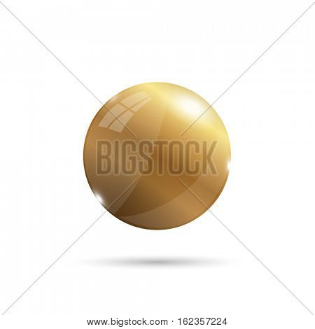 Gold 3d sphere illustration on a white background