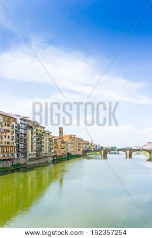 Beautiful street view of ancient buildings at old town near the Cathedral of Florence, Italy