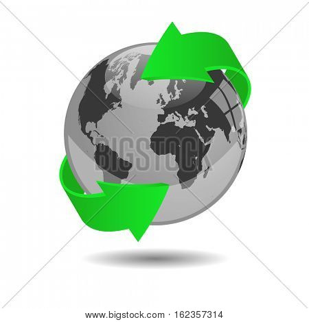 Earth globe illustration on a white background
