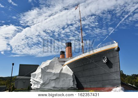 PIGEON FORGE, TN - OCT 7: The Titanic Museum in Pigeon Forge, Tennessee, as seen on Oct 7, 2016. It is a two-story museum shaped like the RMS Titanic. It is built half-scale to the original ship.