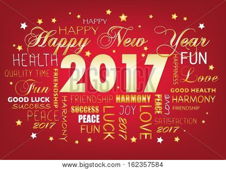 Happy New year 2017 - tag cloud