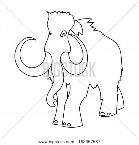 Woolly mammoth icon in outline style isolated on white background. Stone age symbol vector illustration.