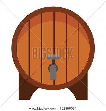 Wooden oak barrel isolated on white background. Beer old wood drink container vintage keg. Winery storage brewery fermentation dark vat aging vector.