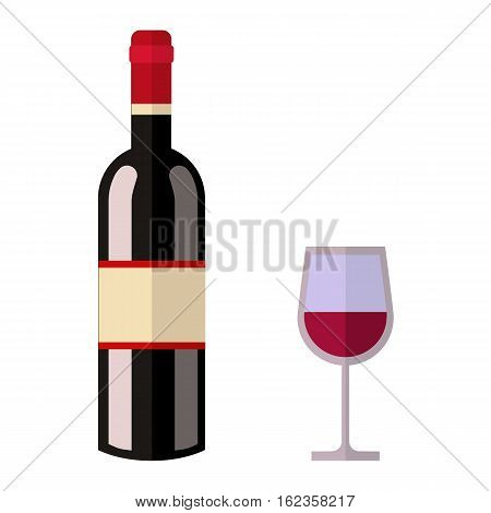 Alcohol drink bottle isolated on white background. Wine beverage celebration grape merlot. Gourmet restaurant party alcohol liquor. Vector gourmet grape splashing champagne.