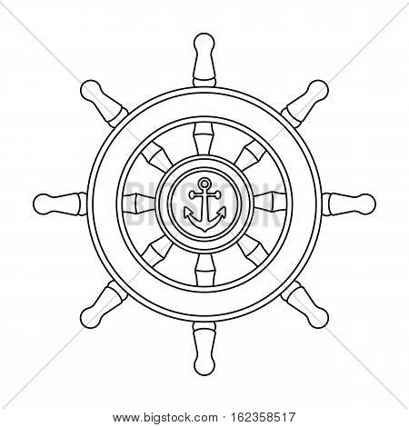 Wooden ship steering wheel icon in outline style isolated on white background. Pirates symbol vector illustration.