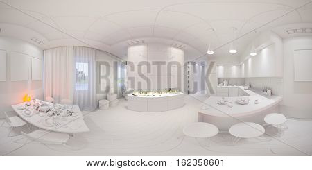 3d illustration spherical 360 degrees, seamless panorama of lkitchen and dining room Halloween interior design. The lkitchen and dining room in a modren style with fireplace and decorated for Halloween