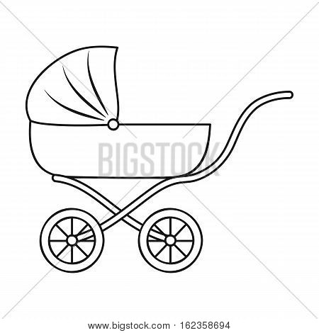 Pram icon in outline style isolated on white background. Baby born symbol vector illustration.
