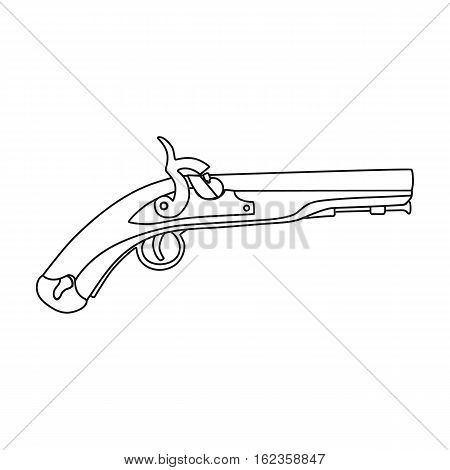 Pistol icon in outline style isolated on white background. England country symbol vector illustration.