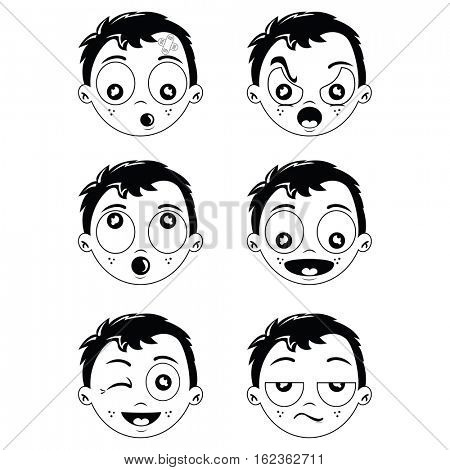 kid different face expression cartoon illustration