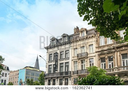 BRUSSELS, BELGIUM - June 8, 2016. Street view of Buildings around city night, one of the most popular tourist destinations in brussel, Belgium.