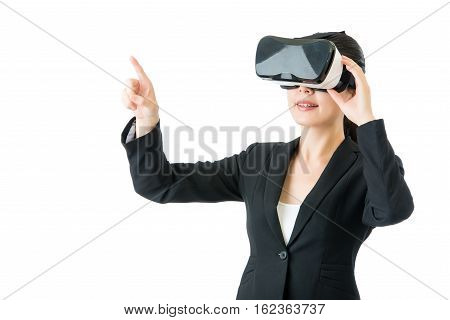 Asian Business Woman Pressing Screen By Vr Headset Glasses
