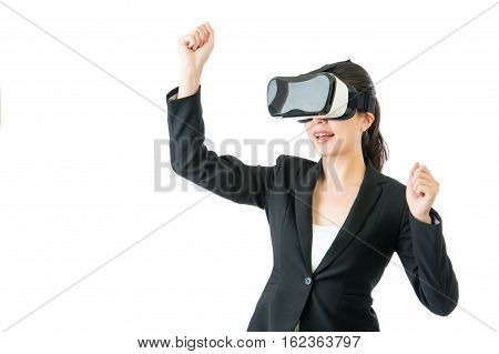 Successful Asian Woman Arms Up With Vr Headset Glasses