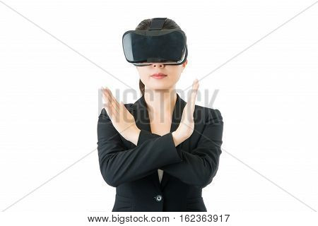 Asian Business Woman. Reject Sign By Vr Headset Glasses