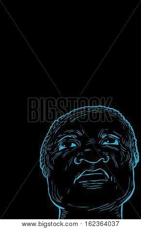 Senior Man Looking Upward Over Black Background