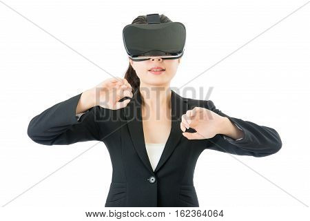 Asian Business Woman Open Discover By Vr Headset Glasses