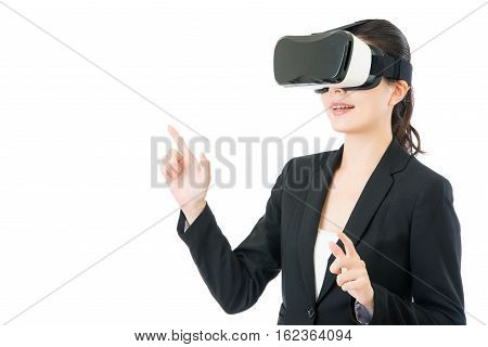 Asian Business Woman Presentation Project By Vr Headset Glasses