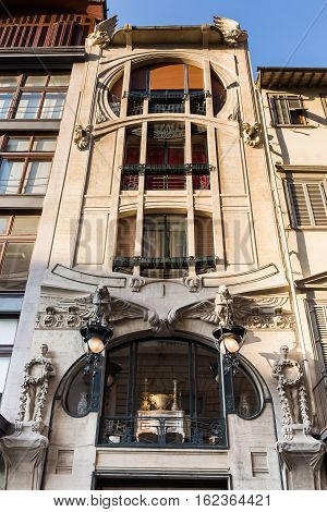 Building With Art Nouveau Facade In Florence
