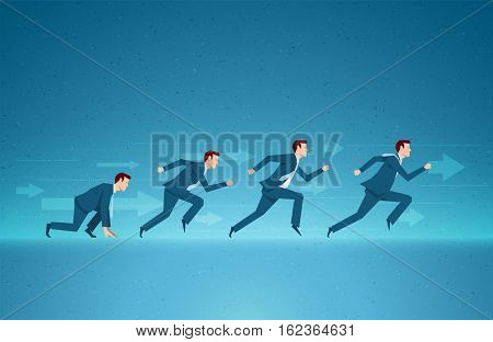 Business concept vector illustration. Success, race, competition, process concept. Elements are layered separately in vector file.