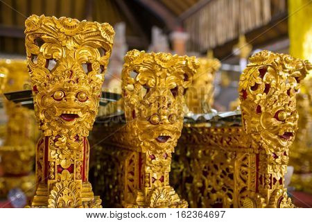 "Traditional Balinese music instrument ""gamelan"" Close-up decoration details."