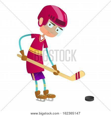 Cute teenage boy hockey player with hockey stick and puck.