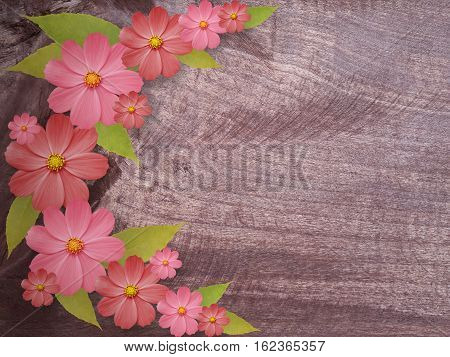 flowers on wooden background. Bright floral composition. card for the holiday. Nature.