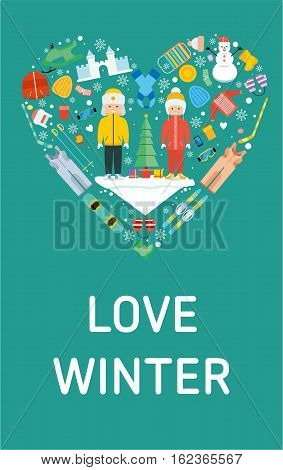Love winter banner. Flat design illustration. Winter kid activity flat icon in heart shape. Love winter concept banner template. Children winter holiday. Winter resort, games, fun vector icon set
