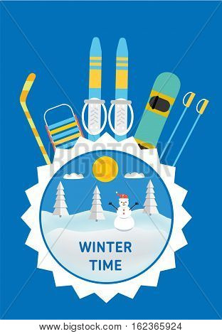 Winter time banner. The concept of active rest and joyful pastime. Happy winter vacation. Hockey stick, sled, ski, snowboard - kids winter gear. Flat style illustration