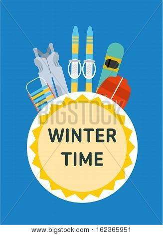 Winter time. Concept banner template. Sled, overalls, ski, snowboard, jacket - children's winter outfit. Flat style illustration